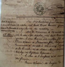 Vidaud de Pomerait, Henriette - Birth certificate