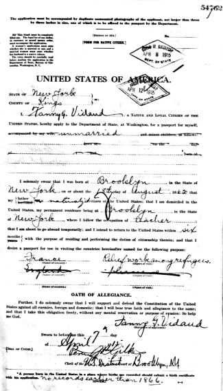 Vidaud, Fanny - Passport Application - 1915